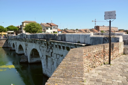 Tiberius Bridge (Ponte di Tiberio) over the Ariminus river in Ariminum on the Via Aemilia, constructed under Augustus and completed by Tiberius in 20 AD as the inscription sculpted on the inner part of the two parapets states, Rimini; Rubicon. Image © Carole Raddato.
