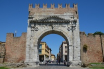 Arch of Augustus at Ariminum, dedicated to the Emperor Augustus by the Roman Senate in 27 BC, the oldest Roman arch which survives, Rimini, Italy; Rubicon. Image © Carole Raddato.