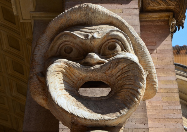 Theatrical mask from the South Theatre (Odeum) at Hadrian's Villa, New Comedy mask of a slave, Cortile del Belvedere, Vatican Museums