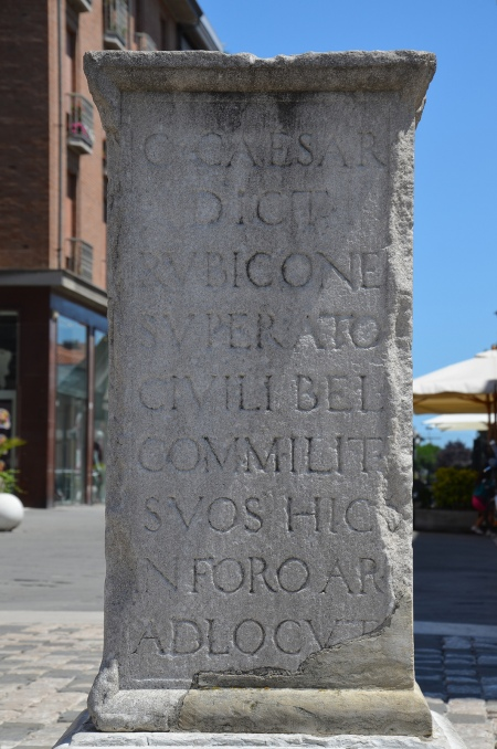 Stone pillar from the 1500s commemorating the speech said to have been made by Julius Caesar to his troops after his famous crossing of the Rubicon, Rimini, Italy
