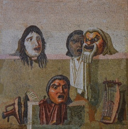 Mosaic with four theatrical masks with a lyre and a broken amphora, from Hadrian's Villa, Sala a Tre Navate, Gabinetto delle Maschere, Musei Vaticani
