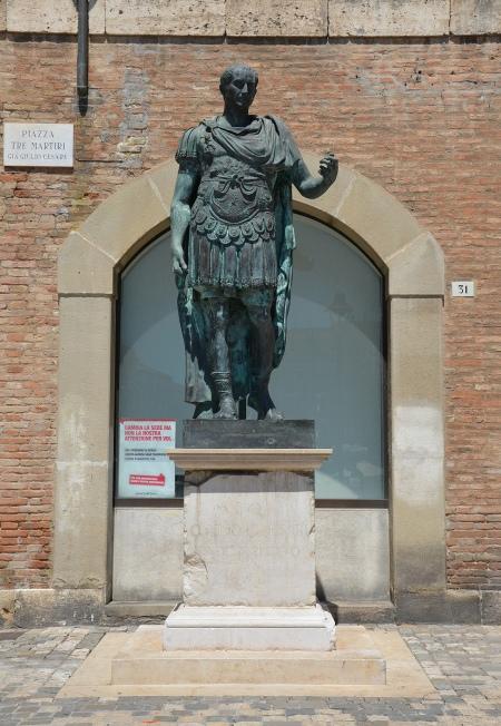 Statue of Julius Caesar in Piazza Tre Martiri, Rimini, Italy