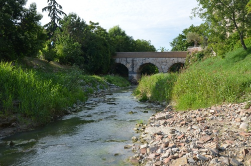 Roman bridge over the Rubicon river, Savignano sul Rubicone, Italy