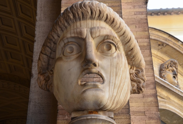 Theatrical mask from the South Theatre (Odeum) at Hadrian's Villa, Cortile del Belvedere, Vatican Museums. Image © Carole Raddato.