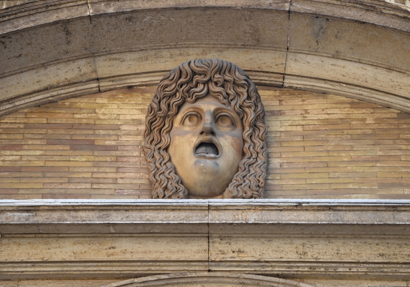 Theatrical mask from the South Theatre (Odeum) at Hadrian's Villa, female figure of tragedy Cortile del Belvedere, Vatican Museums