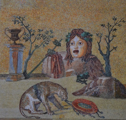 Mosaic with theatrical mask surrounded by attributes of Dionysus, from Hadrian's Villa, Sala a Tre Navate, Gabinetto delle Maschere, Musei Vaticani. Image © Carole Raddato.