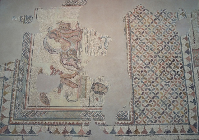 Mosaic of the Double Kidnapping (Europa and Ganymede), found in Écija in 1986, 3rd century AD, Museo Histórico Municipal de Écija