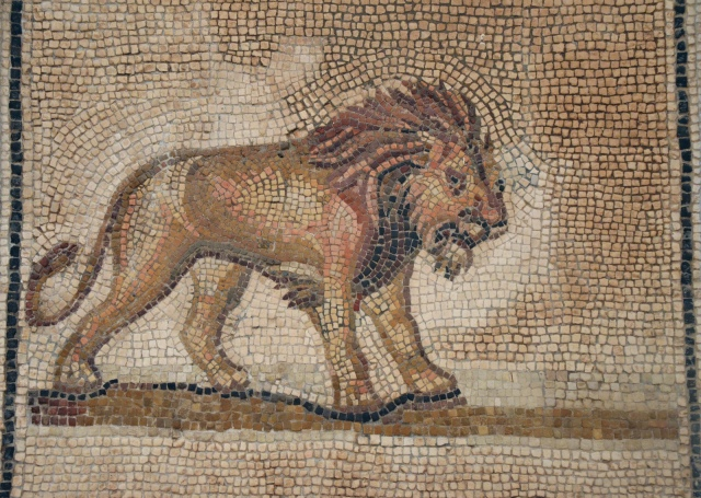 Mosaic from Colonia Aelia Augusta Itálica depicting a Lion, 176-275 AD, Archaeological Museum, Seville