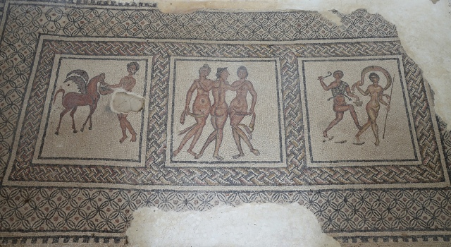 Mosaic, left: Pegasus, the god's winged horse, is fed by a nymph; in the middle Three Graces, goddesses of joy, charm, and beauty; on the right, a Satyr pursuing the Nymph. 3rd-4th century CE. Image © Carole Raddato. Baetica mosaics.