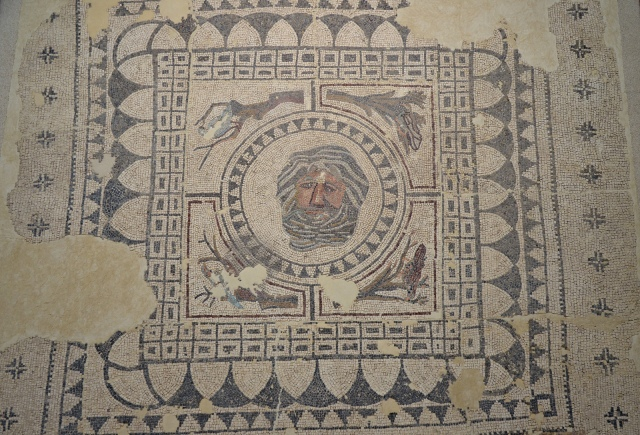 Mosaic of Oceanus, Oceanus is surrounded by four birds on tree branches representing the four seasons, ca. 4th century AD, from a urban house (Domus) of Roman Astigi (Ecija), Museo Histórico Municipal de Écija