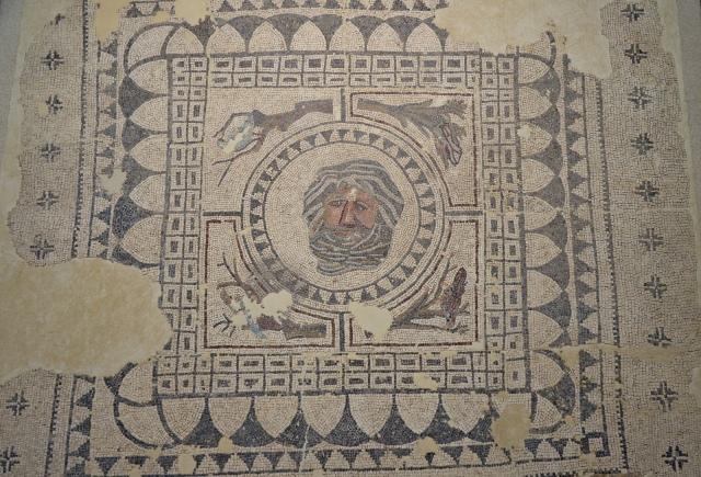 Mosaic of Oceanus, Oceanus is surrounded by four birds on tree branches representing the four seasons. C. 4th century CE, from a urban house (Domus) of Roman Astigi (Ecija), Museo Histórico Municipal de Écija. Image © Carole Raddato. Baetica mosaics