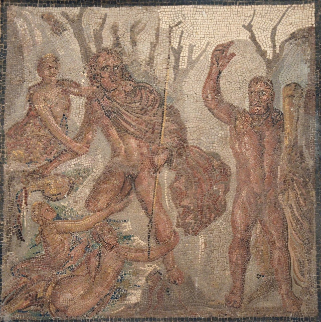 Mosaic depicting the abduction of Hylas by Nymphs, goddesses of waters, from Italica, 2nd century AD, Museum of Archaeology, Seville
