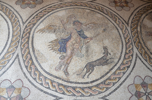Central panel of a mosaic depicting Ganymede being kidnapped by Zeus disguised as a eagle, Room of Ganymede, Palacio Lebrija, Seville. Baetica route mosaics.