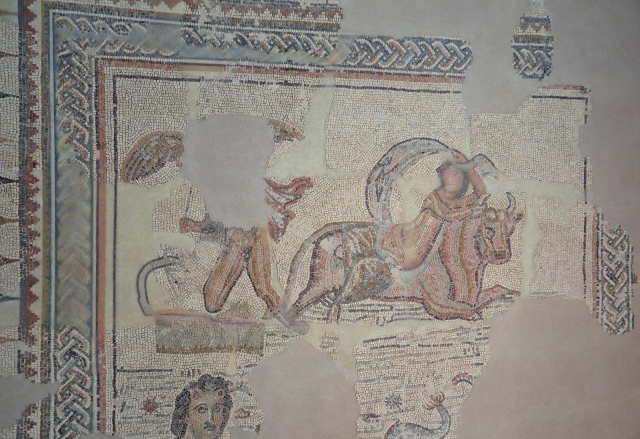 Mosaic of the Double Kidnapping (Europa and Ganymede), found in Écija in 1986. 3rd century AD. Image © Carole Raddato. Baetica mosaics.