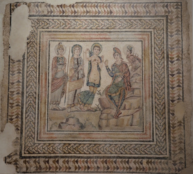 The Judgement of Paris, 3rd Century AD, Roman Mosaic from the Villa del Alcaparral in Casariche, Museum of Archaeology, Seville