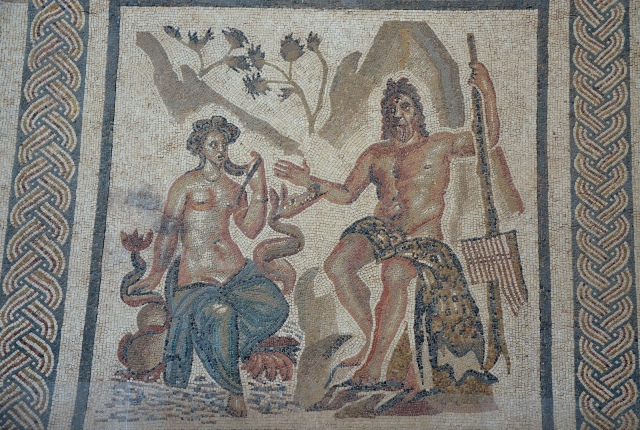 Mosaic with the Cyclops Polyphemus and the nymph of the sea Galatea, discovered in 1959 during excavation work under the Plaza de la Corredera, 2nd century AD, Salón de los Mosaicos (Hall of Mosaics), Alcazar of the Christian Monarchs, Cordoba