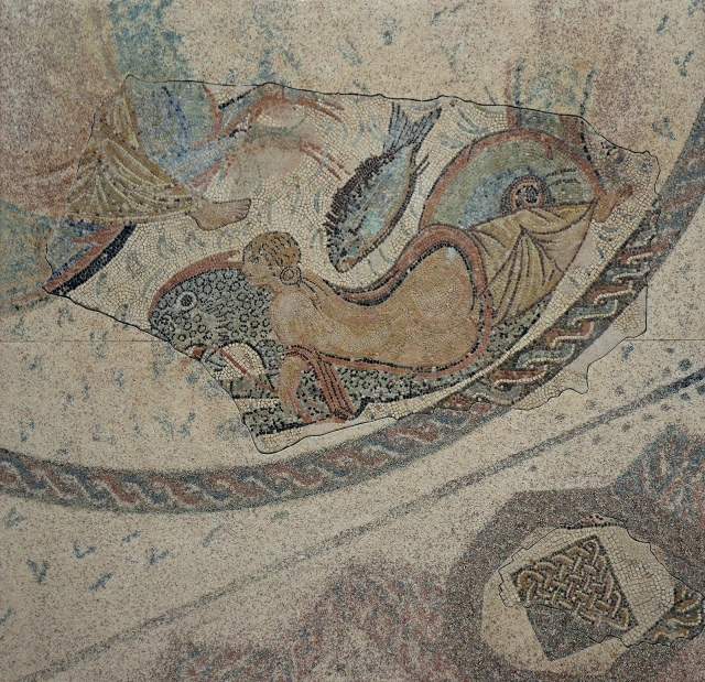 Mosaic of the Nereids, fragment of a mosaic depicting a Nereid riding a hybrid sea monster (Ketos). It paved a room of a Roman house, perhaps of the private baths area (thermae), 2nd century AD. Museo Histórico Municipal de Écija. Image © Carole Raddato. Baetica mosaics.