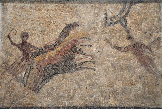 Fragment of mosaic with circus scene with quadriga racing vigorously, 4th century AD, found in Paradas, Museum of Archaeology, Seville