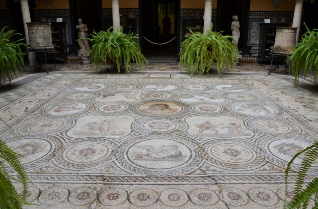 Central courtyard with the God Pan mosaic from Italica, Palacio Lebrija, Seville, Spain
