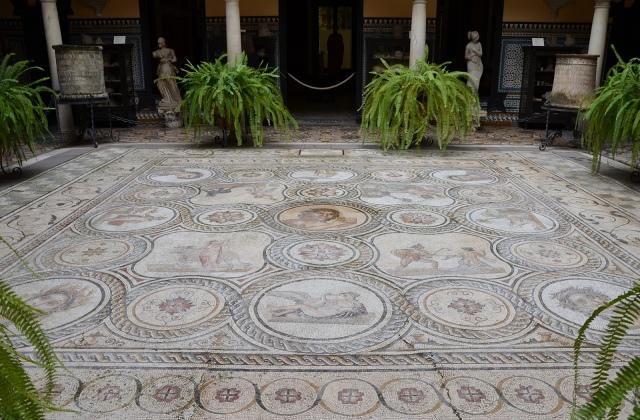 Central courtyard with the God Pan mosaic from Italica, Palacio Lebrija, Seville, Spain, Baetica mosaics