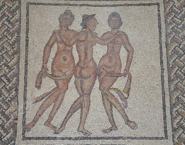Mosaic with the Three Graces, goddesses of joy, charm, and beauty, 3rd-4th century CE. Image © Carole Raddato.