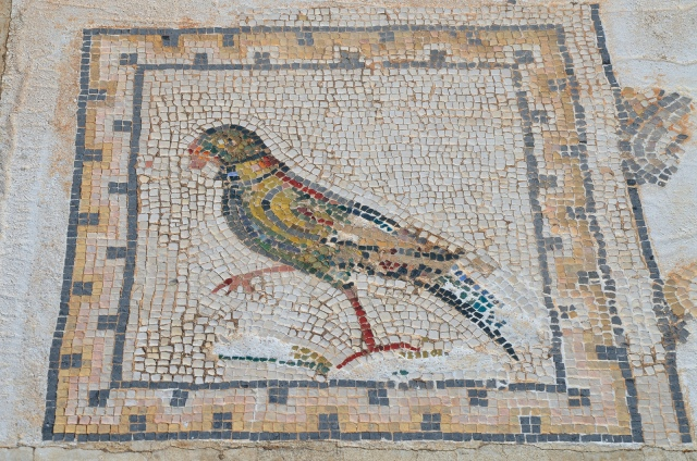 Detail of the Bird Mosaic consisting of a central panel surrounded by 35 small squares representing different species of birds, Italica