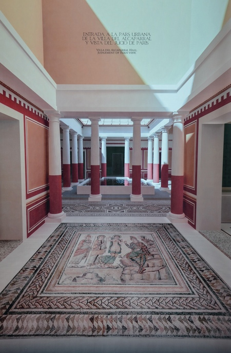 Digital reconstruction of the of the entrance of Roman of the Villa del Alcaparral with the mosaic of the Judgement of Paris and the atrium, Mosaic Museum, Casariche. Baetica mosaics route.