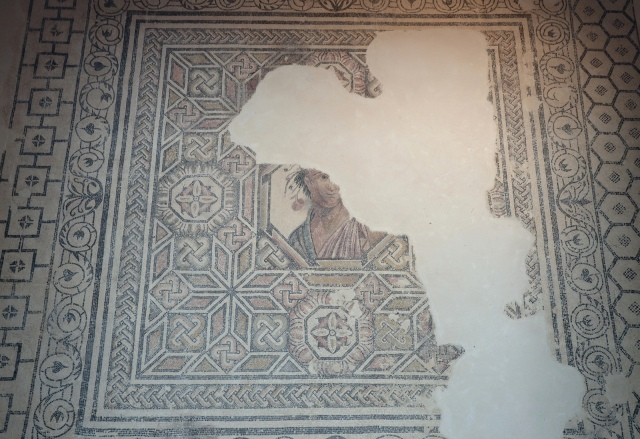Mosaic floor with a central octagonal medallion portrait, probably an allegory of Spring, that paved the oecus of the Villa Villa del Alcaparral, Roman Mosaic Museum, Casariche