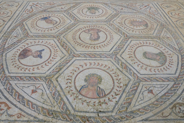 Mosaic with busts of the planetary deities, ca. 150 AD, House of the Planetarium, Italica