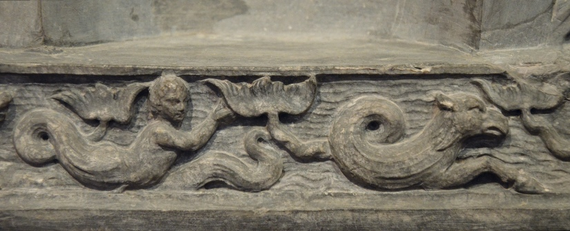The Lansdowne relief, detail of the frieze showing sea creatures, found at Hadrian's Villa, 120-138 AD, Fitzwilliam Museum, Cambridge