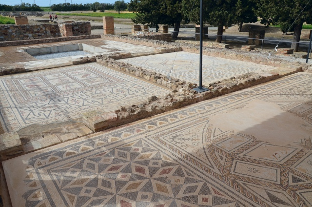 Mosaic floors in the House of the Planetarium, Italica