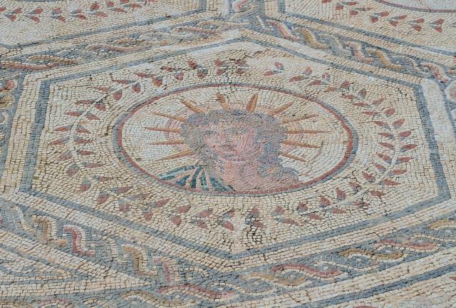 Planetarium mosaic, detail of Planetarium mosaic, detail of Sun, Italica. Image © Carole Raddato.