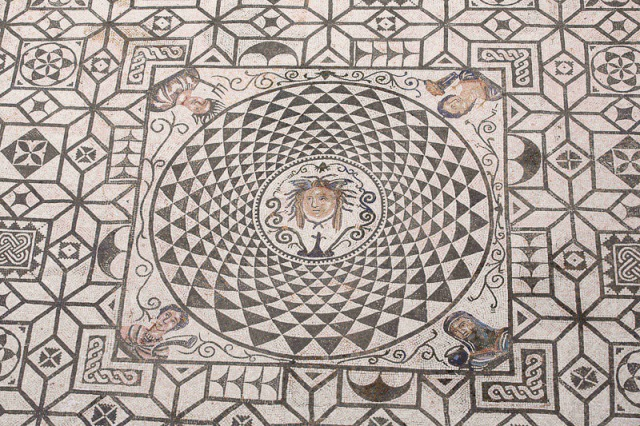 Mosaic with the head of Medusa surrounded by allegories of the Four Seasons, Ayutamiento Carmona. Image © Carole Raddato. Baetica mosaics.