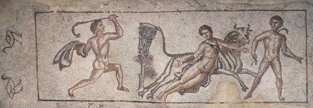 Mosaic depicting the Punishment of Dirce, 3rd century AD. Image © Carole Raddato. Baetica mosaics.
