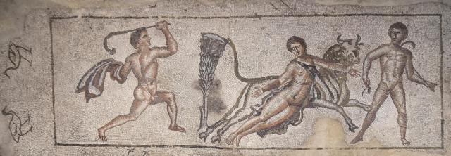 Mosaic depicting the Punishment of Dirce, 3rd century AD. Image © Carole Raddato. Baetica mosaics.