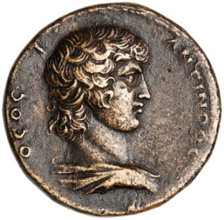 Commemorative coin minted by Julius Saturninus at Ancyra OBV: Antinous, draped shoulder, with legend ˜EOC | ANTINOOC CC BY-NC 4.0 American Numismatic Society