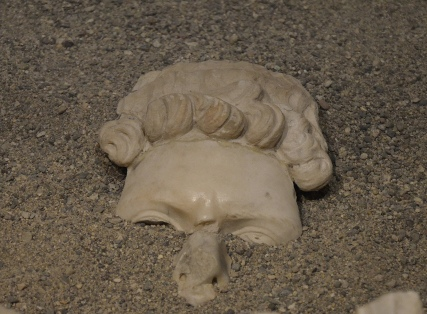Top part of the head of a cuirassed statue of Hadrian found in the Roman theatre of Ancyra (Ankara), Museum of Anatolian Civilizations, Ankara