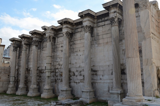 The west facade in Pentelic marble with columns of Karystos marble of the Library of Hadrian, Athens