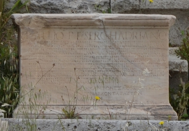 Honorary inscription in Latin and Greek set up in the Theatre of Dionysus in Athens in 112 AD. Image © Carole Raddato.