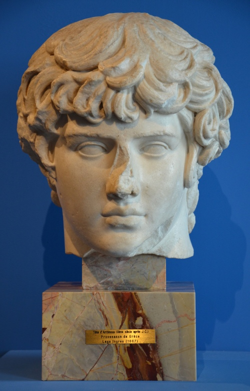 Marble head of Antinous, Musée Ingres, Montauban (France). Image © Carole Raddato. Marguerite Yourcenar exhibition.