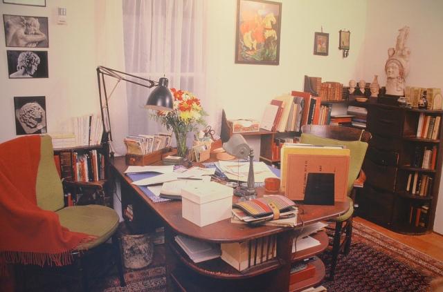 Marguerite Yourcenar's studio in her house in Northeast Harbor, Maine (USA) Exhibition: Marguerite Yourcenar et l'empereur Hadrien, une réécriture de l'Antiquité – Bavay