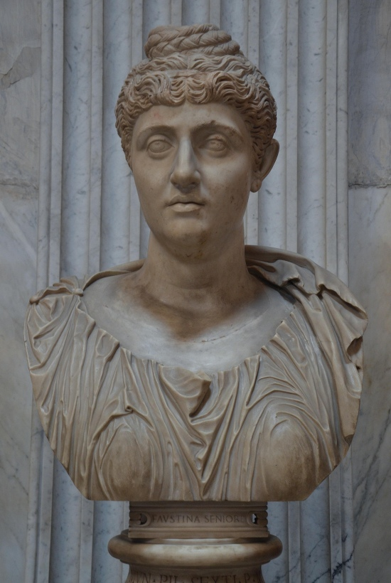 Colossal portrait of Faustina the Elder (wife of Antoninus Pius), from the Pantanello at Hadrian's Villa, 138-140 AD. Vatican Museums, Rome