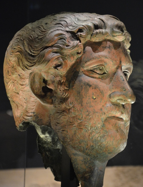 Portrait head of Hadrian, provenance unknown, 117-138 AD, on loan from the Louvre Museum Paris. Hadrian: An Emperor Cast in Bronze, Israel Museum.