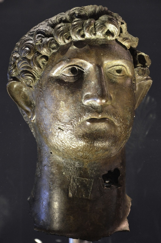 Bronze head of Hadrian, recovered from the River Thames in London in 1834, on loan from the British Museum. Hadrian: An Emperor Cast in Bronze, Israel Museum