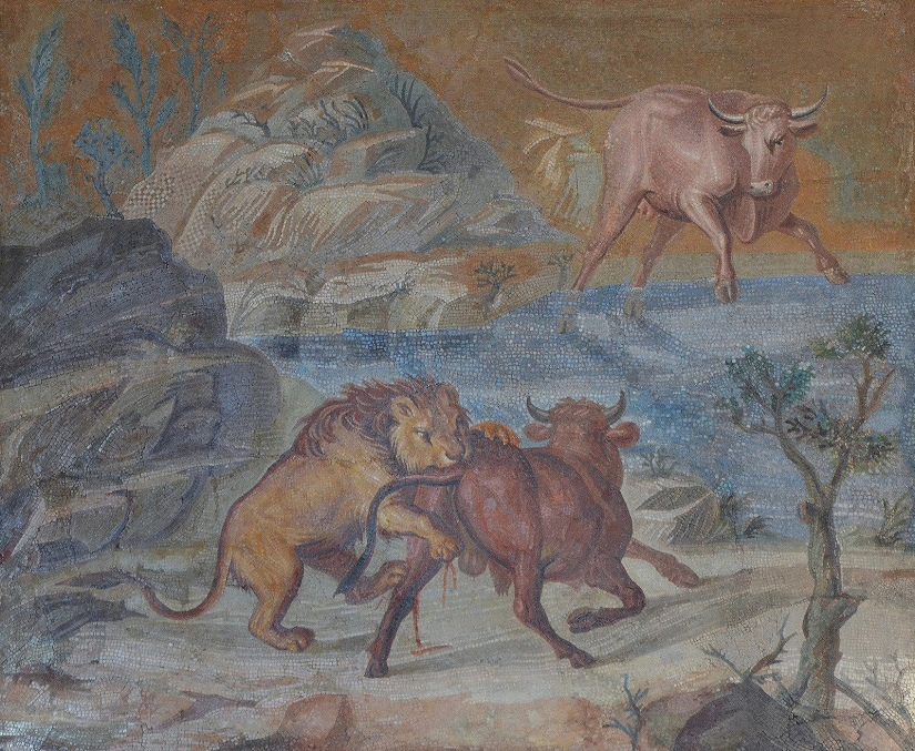 Mosaic depicting a rocky landscape with a lion attacking bull.