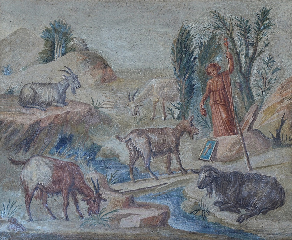 Mosaic panel depicting a landscape with goats and sheeps and a statue of Dionysus holding thyrsus, from the Sala a Tre Navate (Hall with three ailes) in the Imperial Villa at Hadrian's Villa, Vatican Museums (Sala degli Animali)