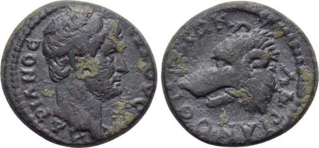 Coin of Hadrian minted in Hadrianotherae, Mysia (117-138 CE). Image courtesy of WildWinds.com.