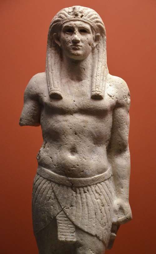 Statue of Antinous as Osiris, from Canopus (Egypt). Photo taken at the 'Osiris, Sunken Mysteries of Egypt' exhibition in Paris in 2015. The Obelisk of Antinous