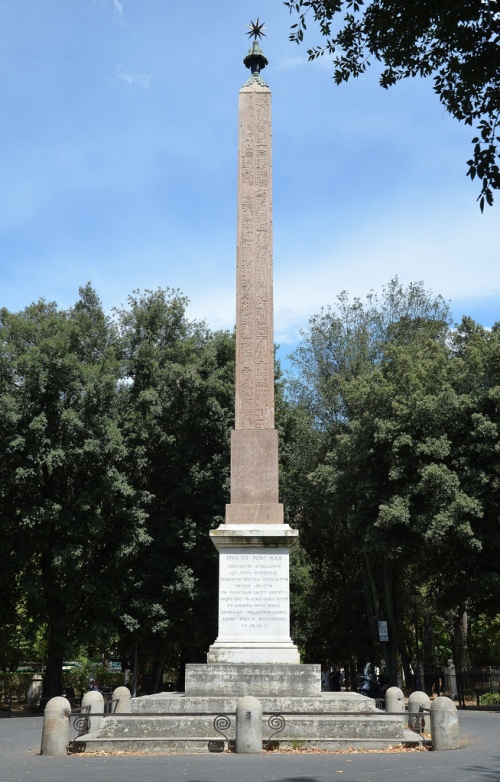 The Obelisk of Antinous (aslo known as the Pincian Obelisk or Barberini Obelisk) in its current location on the Pincian Hill in Rome.