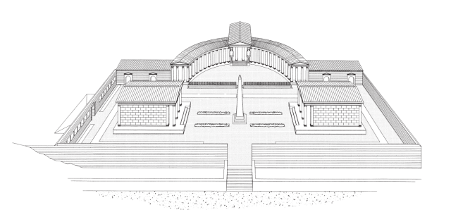 Hypothetical reconstruction of the Temple complex. The Obelisk of Antinous